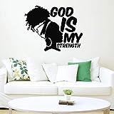 Chica africana etiqueta flor dios mi poder cita etiqueta mujer africana dormitorio sala de estar vinilo etiqueta A6 42x53 cm