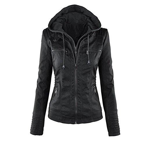 Minetom Femme Fille Mode Bomber Blousons En Simili Cuir Fermeture Éclair Motard Hooded Tops Manteau à Capuche Court Moto Veste Jacket Noir FR 34