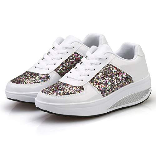 Zapatillas De Cuña para Mujer Lentejuelas Zapatos De Batido Plataforma con Cordones De Moda Zapatos De Vulcanización Boca Baja Caminando Running Zapatillas De Deporte