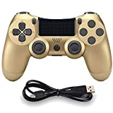 Molgegk Wireless Controllers for PS4 Playstation 4 Dual Shock Six-axis Remote Gaming Gamepad Joystick (Gold 1)