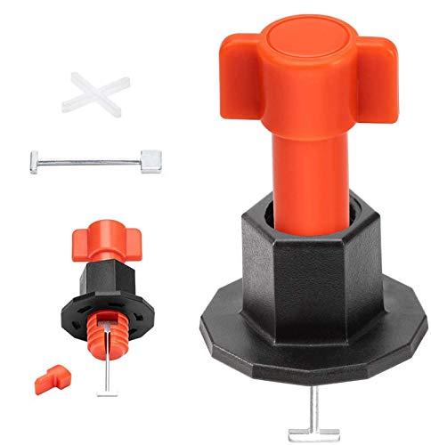 BizoeRade Fliesen Nivelliersystem mit 100 Stück Fliesenabstandhalter und 50 Ersatznadeln,Wiederverwendbar Fliesen Leveler mit Spezialschlüssel für Bau, wie Mauern und Böden