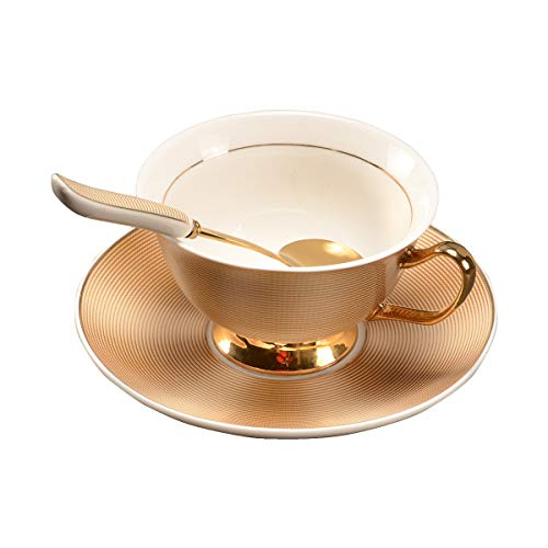 Pfedxoon Juego de 3 tazas de café británicas (7 oz)Taza de té con plato cuchara (dorado)
