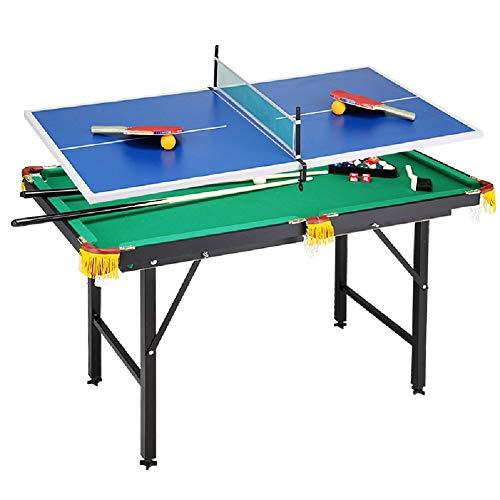 Tischbillard YXX Billardtisch Faltbare 2-in-1 Spiel Kombinationstabelle Set for Tischtennis und Billard, Ideal for Kinder Kinder Erwachsene Teens, 120 × 67 × 75 cm