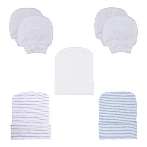 DRESHOW BQUBO Newborn Hospital Hat Infant Baby Hat Cap with Big Bow Soft Cute Knot Nursery Beanie (5 Pack B: 3 Hats + 2 Pair Mittens)