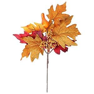 Silk Flower Arrangements KESYOO Artificial Bouquet Fall Silk Maple Leaf Shrubs Faux Plants for Halloween Thanksgiving Decor