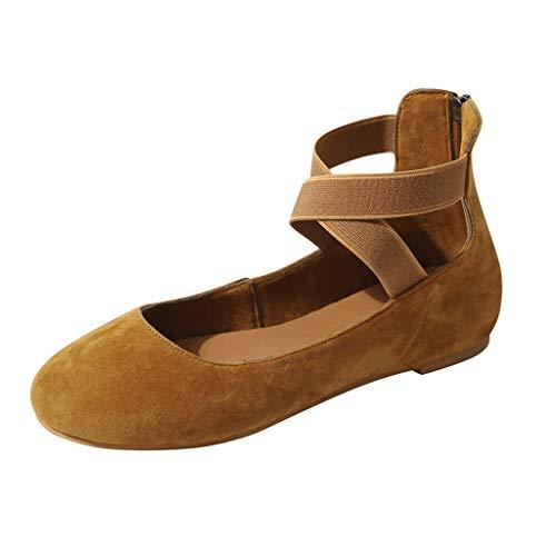 Zapatos Bajos de Las Mujeres Elegantes | Liqiqi, Zapatos de Mujer con Correas Cruzadas en el Tobillo Boca Baja Cabeza Redonda Zapatos Premium Premium para Mujer Zapatos Princess Verano