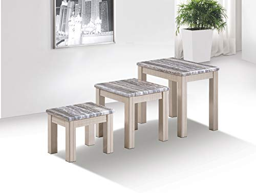 Furniture Express Oak Marble Effect Nest of Tables