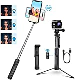 Selfie Stick Tripod, Mpow Fill Light Bluetooth Selfie Stick with Remote Extendable Phone