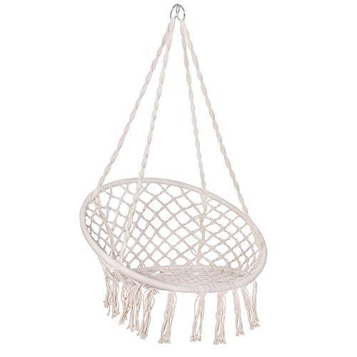 SPRINGOS Balancelle suspendue, à franges, en coton macramé, avec des cordes et des anneaux, pour l'extérieur et l'intérieur