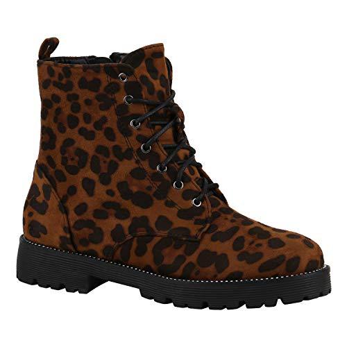 stiefelparadies Geschnürte Damen Worker Boots Profilsohle Stiefel Stiefeletten Leopard Velours 39 Flandell