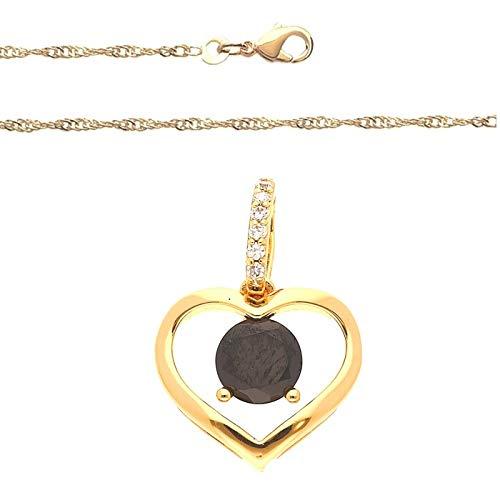 Cadena y colgante de corazón de ónix oro amarillo 750 laminado*
