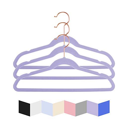 MIZGI Premium Kids Velvet Hangers (Pack of 50) 14' Wide with Copper/Rose Gold Hooks,Space Saving Ultrathin,Nonslip Hangers use for Petite Junior Children's Skirt Dress Pants,Clothes Hangers-Purple