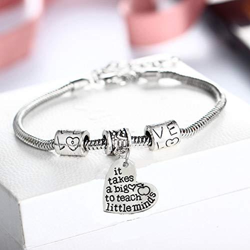 Hart hangers bedeltjes 'Het kost een groot hart te leren Little Minds' hart armband dank u geschenken voor docent