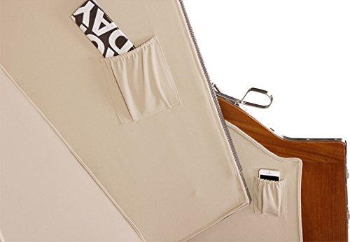 Luxus Mahagoni XXL Strandkorb Volllieger für 2 Personen aus Hartholz Grau-Weiß Gestreift - Aufgebaut und Einsatzbereit Strandkorbwelt365 - 8
