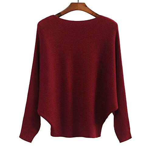 Womens Cashmere Sweaters Casual Loose Batwing Sleeve Winter Pullovers Tops Red