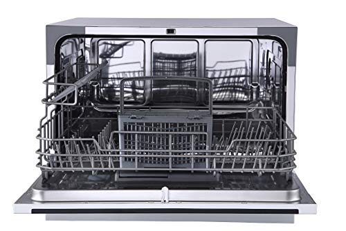 Farberware Professional FCD06ABBWHA Compact Portable Countertop Dishwasher with 6 Place Settings and Silverware Basket, LED Display, Energy Star, White