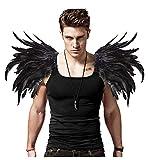 L'VOW Alas de ángel para hombre, color negro, plumas naturales, para carnaval, un par (negro)