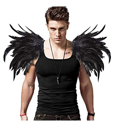 L'VOW Alas de ángel para hombre, color negro, plumas naturales, para carnaval,...