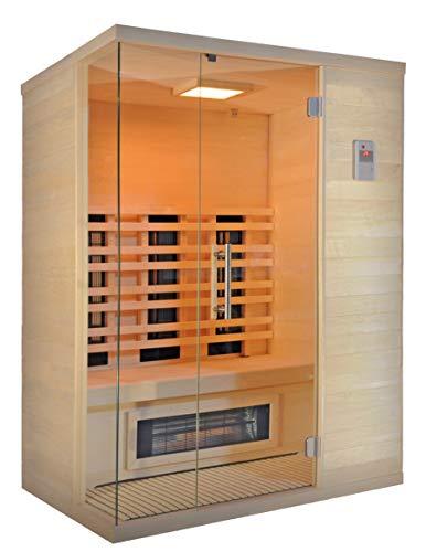 SAUNELLA Infrarotsauna | Bausatz Heimsauna - Infrarotkabine Maße: 151 x 111 x 204,6 cm | Saunaofen Komplett Sauna Zubehör Ecksauna Eckeinstieg Massivholz | ext. Steuerung 3,4 kW