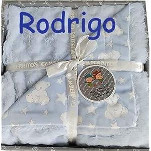Manta Bebe Personalizada con Nombre Bordado Cochecito o Capazo Tacto aterciopelado Regalo para Baby Shower danielstore