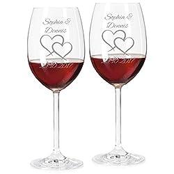 2 Rotweingläser mit Namen graviert - personalisierte Weingläser - mit individueller Wunsch-Gravur als Geschenk zur Hochzeit (Zwei Herzen)