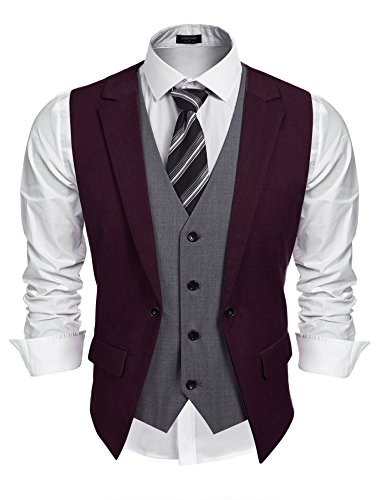 Coofandy Men'/s Formal Fashion Layered Vest Waistcoat Dress Vest,Wine Red,Large