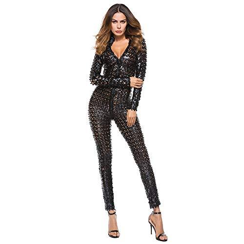 Brandon Christie Frauen Sexy Hohl Catsuit Clubwear Stretch Ganzanzug Spielanzug Phantasie Shiny Bodycon Kostüm Nachtwäsche für Lady Girl, Black, XL
