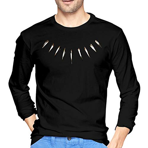 Collar de Diente de Hueso Camiseta de Algodón para Hombre Camiseta de Manga Larga con Cuello Redondo Pequeño Negro