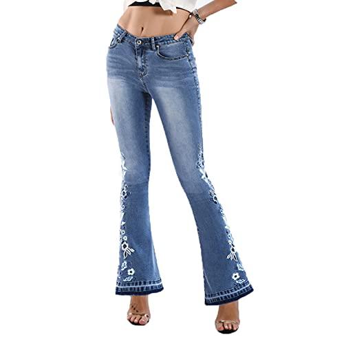 WJANYHN Dames denim geborduurde broek, wijde pijpen gewassen uitlopende jeans plus size broek - blauw - 5XL