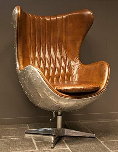 Casa Padrino Sillón Art Decó Sillón Giratorio Aluminio/Cuero Real Marrón Forma Huevo - Sillón Club - Sillón Lounge - Muebles de Avión Vintage