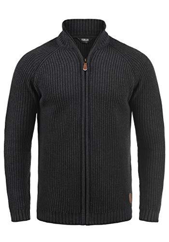 !Solid Xenos Herren Strickjacke Cardigan Grobstrick Winter Pullover mit Stehkragen, Größe:L, Farbe:Dark Grey Melange (8288)