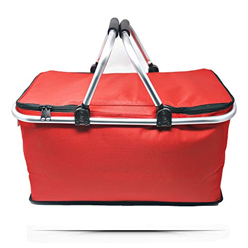 Nile Insulated Picnic Basket: Large Red Basket for Family and Small Kids. Cooler Lunch Bag. Waterproof with Liner. Picknick Basket for 2 or 4 Person. Gray/White Set of Handle.