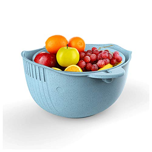 Mousyee Cuenco Colador Colador, Escurridor Pasta Cesta de Plástico para Lavar Verduras Diseño de Lavabo de Drenaje de Doble Capa Coladores de Frutas Desmontables Uso para Drenaje (Azul)