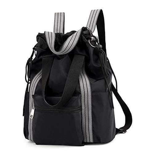 Bolsa de nailon para esterilla de yoga, bolsa de gimnasio, mochila con cordón, para mujeres, retro, color negro