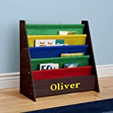 DIBSIES Personalized Kids Bookshelf (Espresso with Primary Fabric)