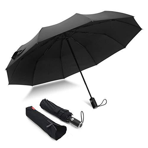 Windproof Compact Umbrella- Travel Umbrella - 10Ribs Fiberglass& Auto Open Close Umbrella -for Women Men-46inch)