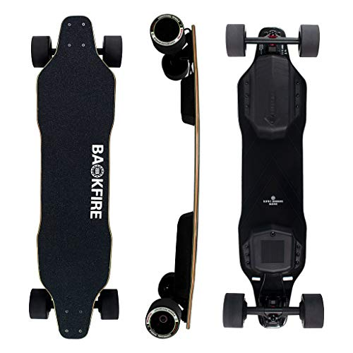 Backfire G2 Black Electric Skateboard with Remote Control Electric Longboard for Adults & Teens, 23 MPH Top Speed,400W Singal Motor 240Lbs Max Load, 6 Months Warranty