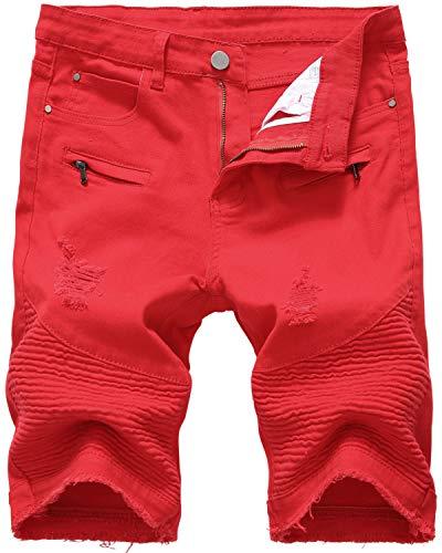 Men's Moto Biker Ripped Slim Fit Denim Jeans Shorts, 061 Red, W32