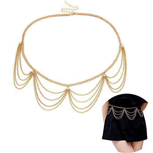 Jurxy Körper Bauch Taille Kette Bikini Strand Körperkette Multilayer Bauchgürtel Bauchkette Legierung Taille Kette für Frauen - Gold Stil 3