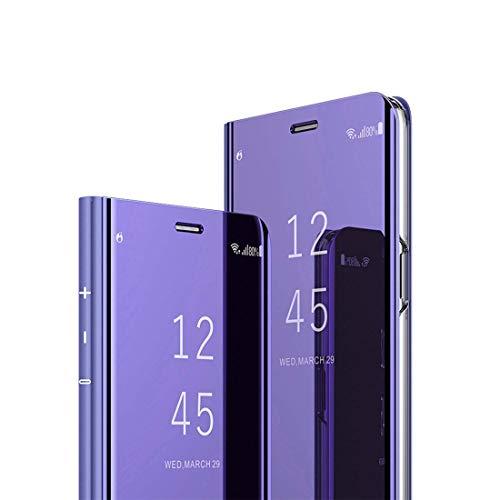 MRSTER J4 Core Hülle Clear View Standing Cover, Spiegel Handyhülle Schutzhülle Flip Hülle Schutz Tasche mit Standfunktion 360 Grad hülle für das Samsung Galaxy J4 Core J410. Flip Mirror: Purple