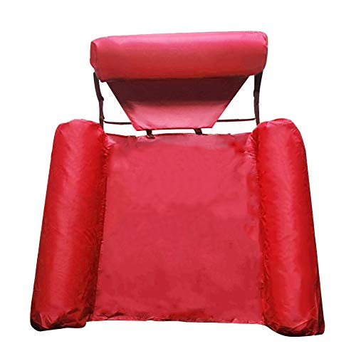 N/Z Foldable Backrest Float Row, Float U-Seating,Inflatable Swimming Pool Float Lounge, Water Play Lounge Chair Floating Bed Sofa, Pool Chair for Adults-Red Color