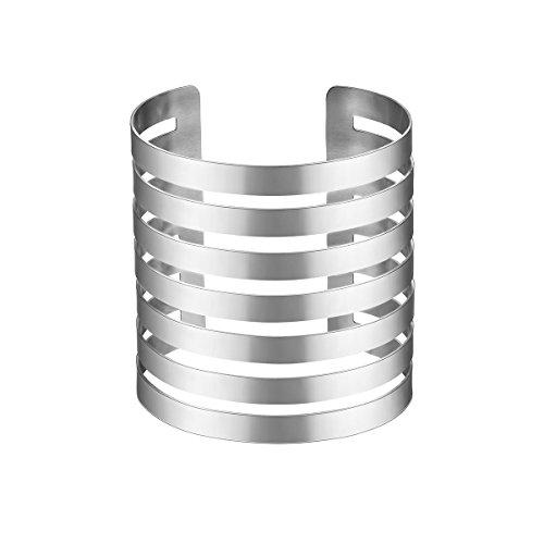 FOCALOOK Armspange für Damen Mädchen Edelstahl Offene Stulpe 72mm breit Simpel Linien Design Armreif Armband Silber