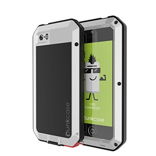 iPhone 5/5s Case, Punkcase Metallic Series Silver w/Tempered Glass Screen Protector | Shockproof | Dirtproof | Snowproof | Aluminum Frame Cover Armor Case for iPhone 5/5s