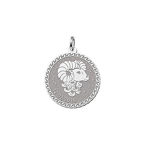 Naamforever ronde hanger van 925 sterling zilver | motief ram sterrenbeeld dierenriemteken en naamgravure op de voorkant