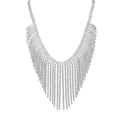 Stroili - Collana in metallo rodiato con multifili lunghi con strass per Donna
