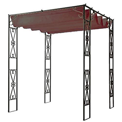 鉄製パーゴラ アイアン バラアーチ 藤棚 果樹・くだもの棚と専用シートセット PK-01se (ブラウン)