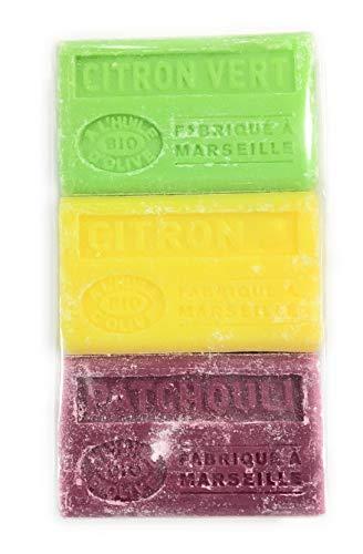 Label Provence-lot de savons 3 savons Bio de Marseille à l'huile d'olive-citron-vert/citron/patchouli-3x125g