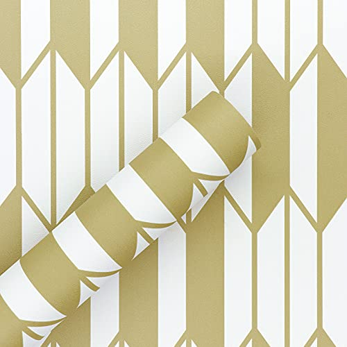 Papel adhesivo para muebles dorado geométricos, resistente al agua, fácil de usar, 45 cm x 300 cm, para decoración del...