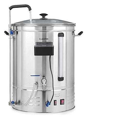 Klarstein Brauheld Pro - caldero de mosto, olla de cocción de cerveza, 35 litros, 100-3300 W, MemoryBrew: 11 pasos programables, temporizador, de 30 a 100 °C, circulación de calor, acero inoxidable