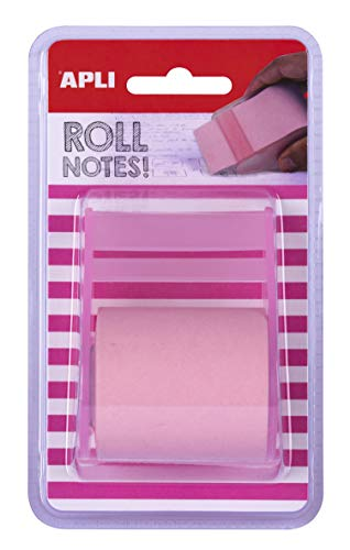 APLI 18192-Rollo dispensador de nota adhesiva 50 mm x 8 m color rosa pastel